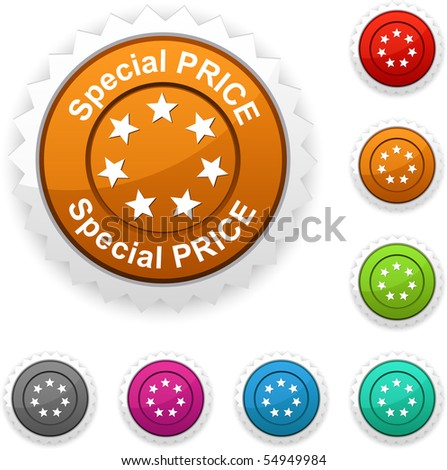 Special price award button. Vector.