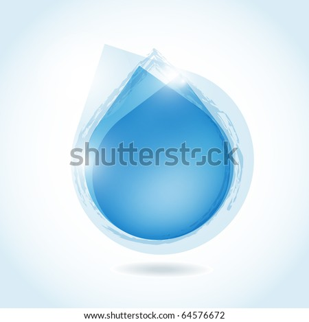 speech bubble from blue water drop - stock vector