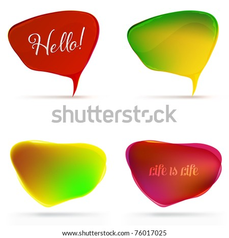 4 Speech Bubble, Isolated On White Background, Vector Illustration - stock vector