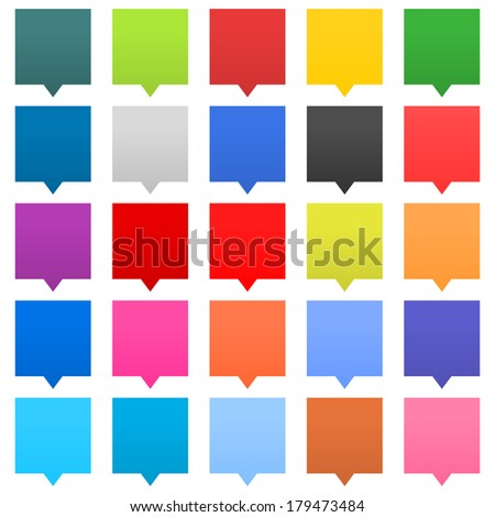 25 speech bubble sign web icon square shape on white background. Empty buttons in popular soft colors. Newest flat simple modern minimal metro style. Internet design element vector illustration 8 eps - stock vector