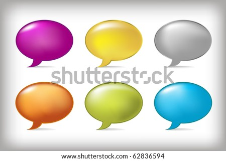 6 Speech Bubbles, Isolated On Grey Background, Vector Illustration - stock vector