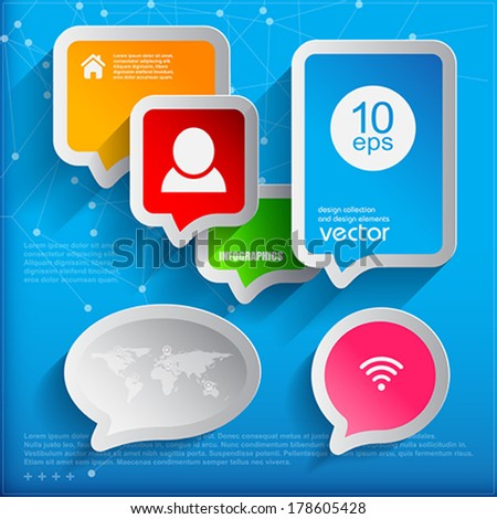 6 speech bubbles. Modern infographic template for business design.  Vector Illustration. - stock vector