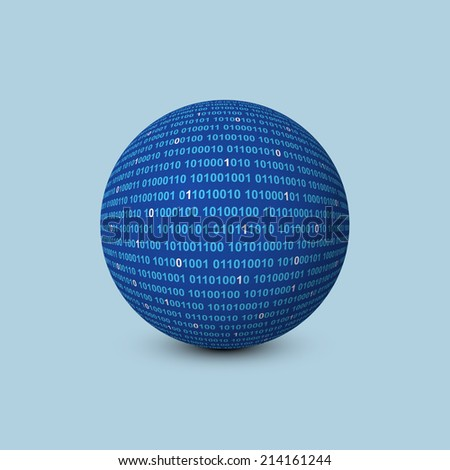 sphere with binary code - stock vector