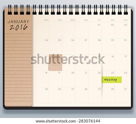 2016 Spiral Calendar Template. Vector Illustration - stock vector