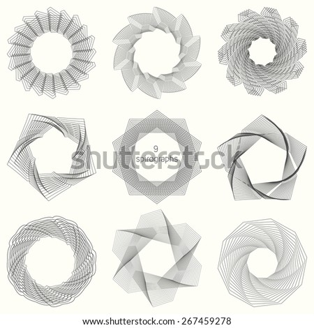 9 spirograph patterns - stock vector
