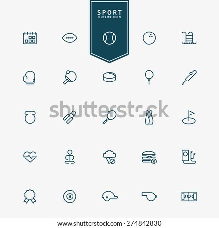 25 sport and fitness minimal outline icons vector - stock vector