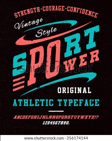 87 SPORT FONT crafted retro vintage typeface design. Original textured lettering type alphabet on BLACK background. Authentic font. T shirt graphic grunge vector illustration badge label logo template