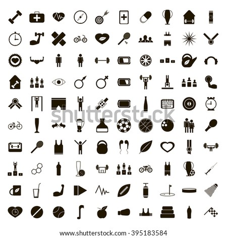 100 sport icons set - stock vector