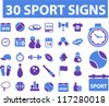30 sport icons set, vector - stock vector
