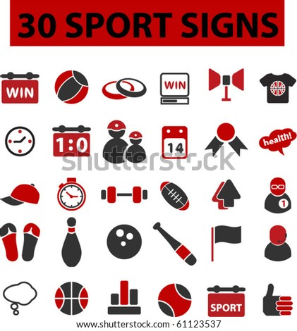 30 sport signs. vector. see more vector signs in my portfolio - stock vector