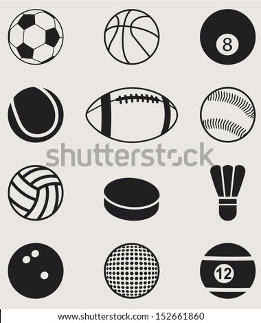 Sports Balls Icons set. Vector Illustration  - stock vector