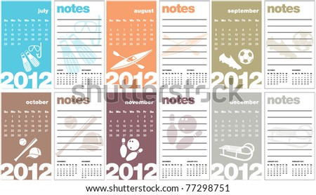 Sports Calendar 2012 (Business Card Sized) with notes - stock vector