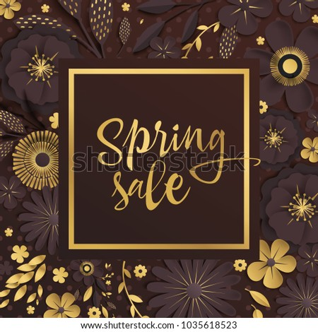 Spring sale gold chocolate origami flowers stock vector 1035618523 spring sale gold and chocolate origami flowers with realistic shadow to banner or mightylinksfo