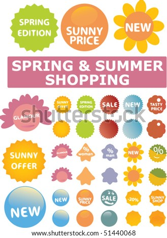 30 spring & summer shopping stickers. vector