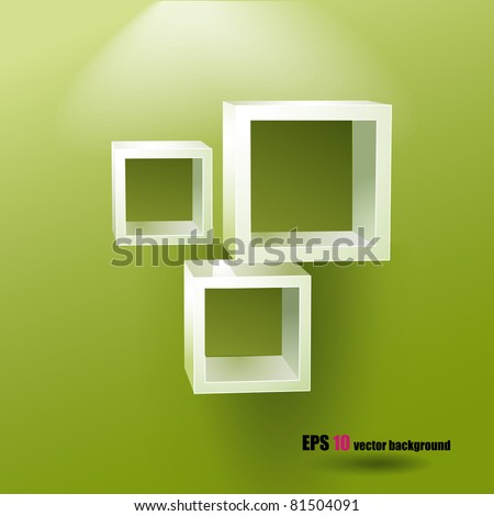 Square shelves on the green background - stock vector