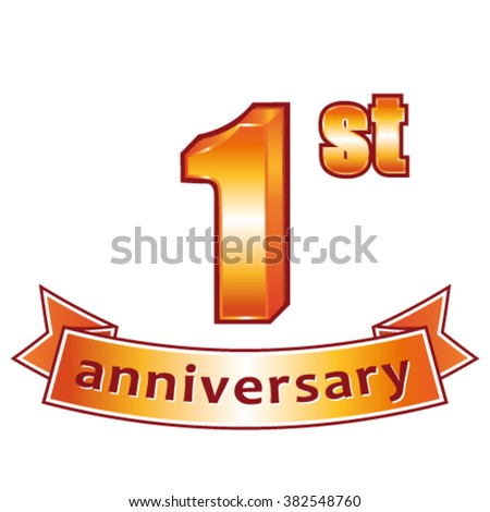 1st anniversary. Golden vector label. - stock vector