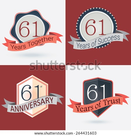 61st Anniversary / 61 years together / 61 years of Success / 61 years of trust - Set of Retro vector Stamps and Seal
