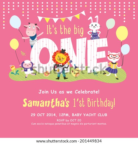 1st Birthday Party Invitation Card  - stock vector