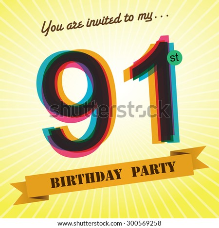 91st Birthday party invite / template design in retro style - Vector ...