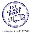 1st class post rubber stamp - stock vector