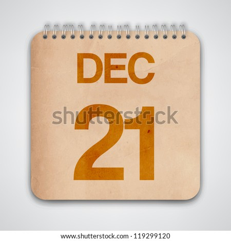 21st December on Old Notebook Vector - stock vector