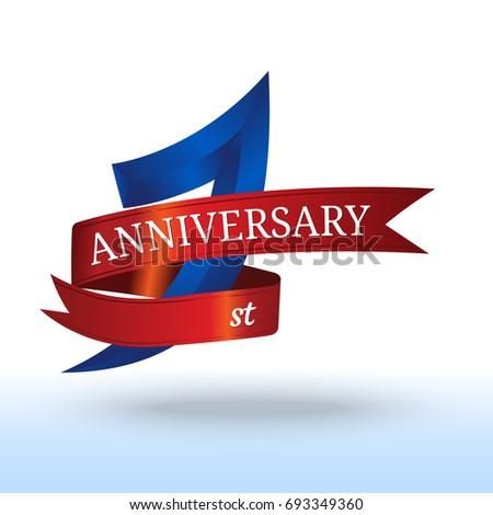 1st Year Anniversary Symbol Vector Stock Vector Royalty Free