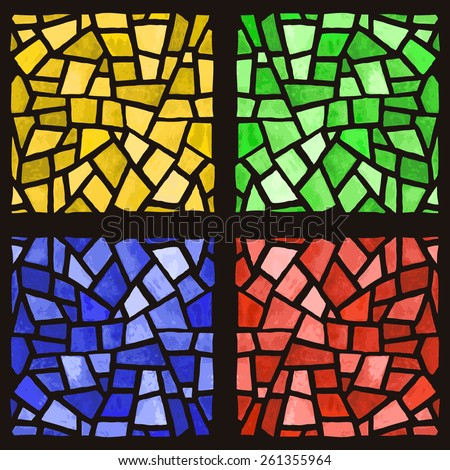 Stained-glass window vector. Watercolor handmade. - stock vector