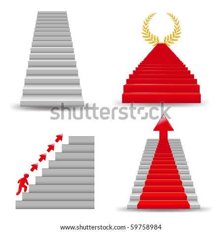 4 Staircases,  Isolated On White Background, Vector Illustration - stock vector