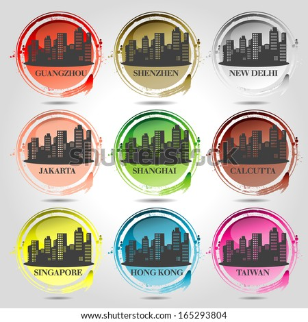 9 stamps of Asian Cities - stock vector