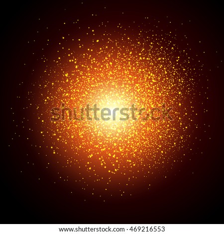 Star dust sparks in explosion on dark background. Christmas Lights Concept.Vector illustration light colors.Vector luxury black background with gold sparklers. gold background. glitter background.