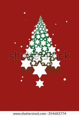 Star forming a Christmas tree graphic  - stock vector