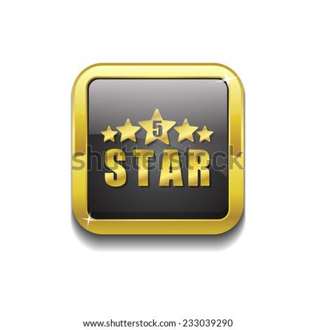 5 Star Gold Vector Icon Button - stock vector