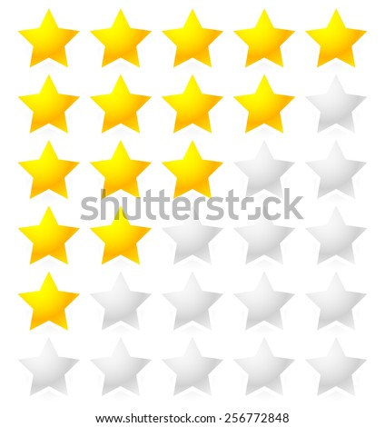 5 Star Rating System. Star rating vector with bright star shapes isolated on white. Appraisal, evaluation, feedback. - stock vector