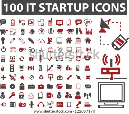 100 startup icons set, vector - stock vector