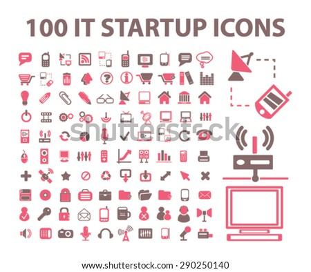100 startup, internet technology, computer, administration isolated icons, signs, illustrations for web, mobile application, vector - stock vector
