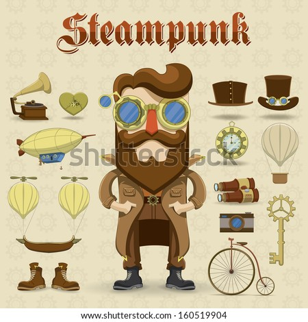 Steampunk character and elements. Vector icons