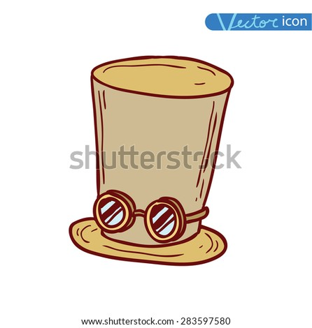 steampunk top hat and brass goggles, hand drawn vector illustration. - stock vector