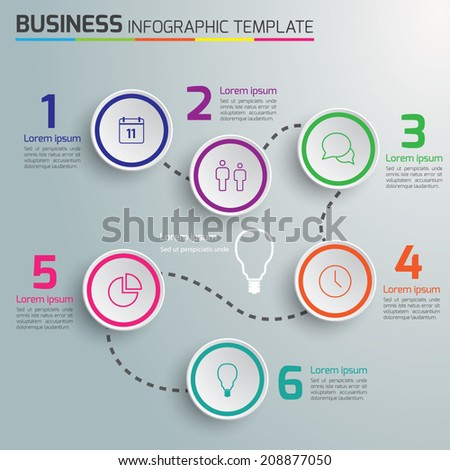 6-Step process info graphics light vector background, circles - stock vector