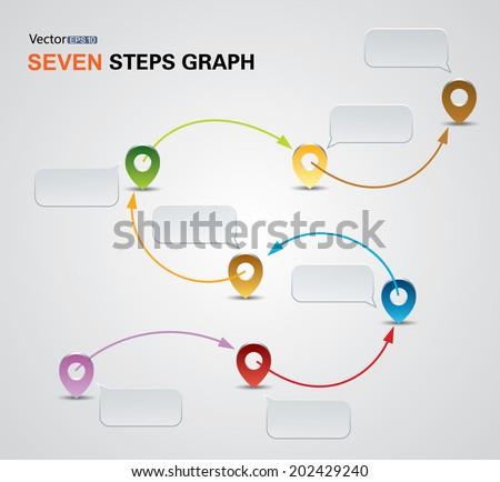 7 steps arrows - stock vector