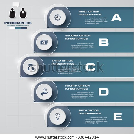 5 steps banners template/graphic or website layout. Vector. - stock vector