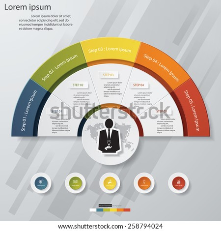 5 Steps chart template/graphic or website layout. Vector. - stock vector