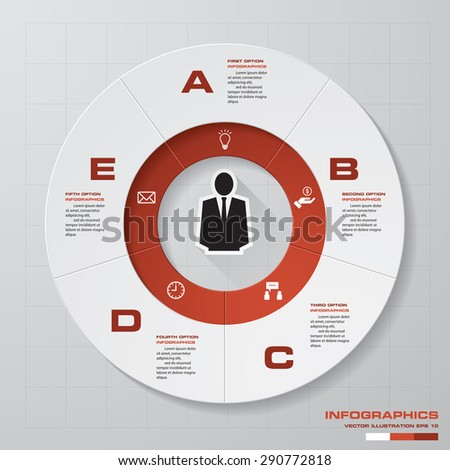 5 steps circle diagram. Design clean number banners template/tags or website layout. Vector. - stock vector