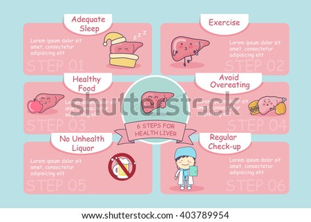 6 steps for health cute cartoon liver, great for health care concept - stock vector