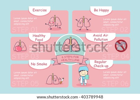 6 steps for health cute cartoon lung, great for health care concept - stock vector