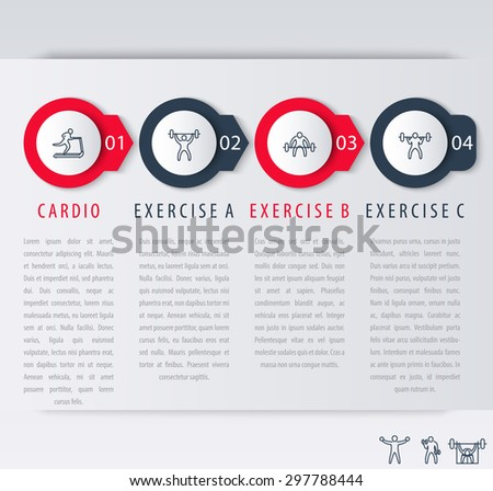 4 steps infographic elements, with line exercise icons, vector illustration, eps10, easy to edit - stock vector