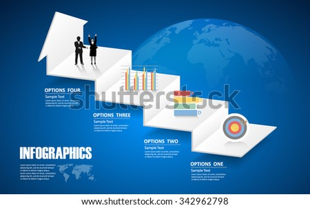 4 steps infographic template. can be used for workflow layout, diagram, number options - stock vector