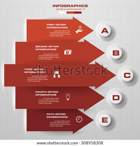 5 steps modern arrow infographics elements. Vector illustration. Can be used for workflow layout, diagram, number and step up options, web design. - stock vector
