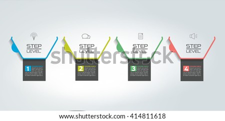 4 Steps  tutorial, chart, diagram, timeline. One, two, three, four concept. - stock vector