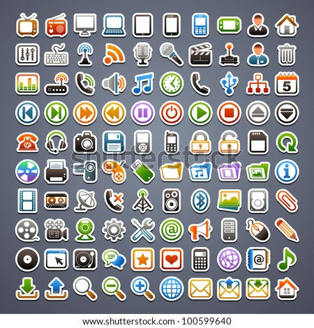100 sticker icons - stock vector