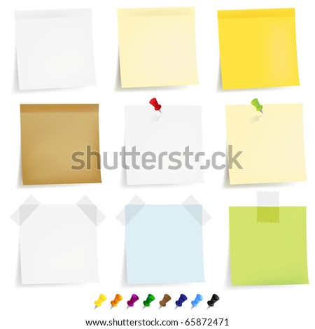 9 Sticky Papers With Adhesive Tapes And Pushpin, Isolated On White Background, Vector Illustration - stock vector